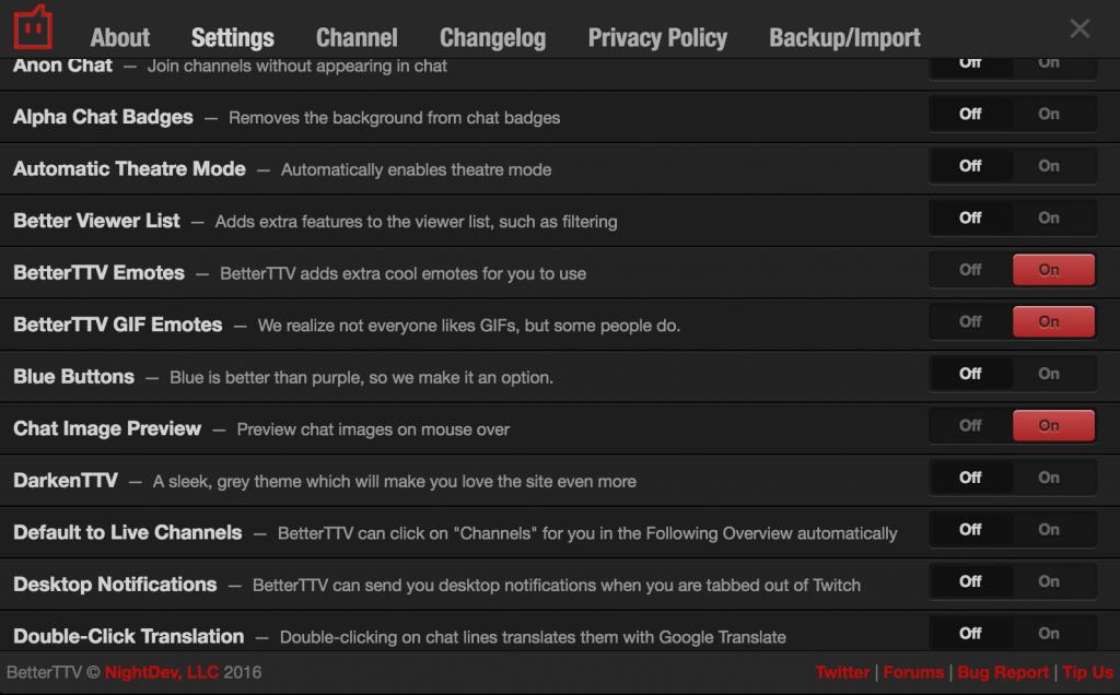 BetterTTVの設定画面