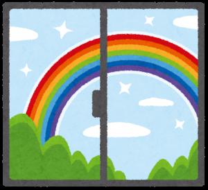 雨の後虹がかかっている画像