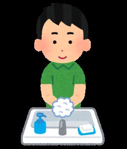 手を洗っている人の画像