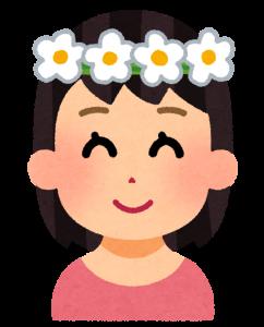 花冠をかぶった女の人の画像