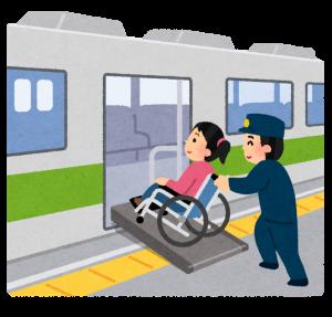 電車に乗り込む人の画像