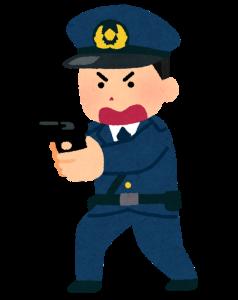 拳銃を構える男性